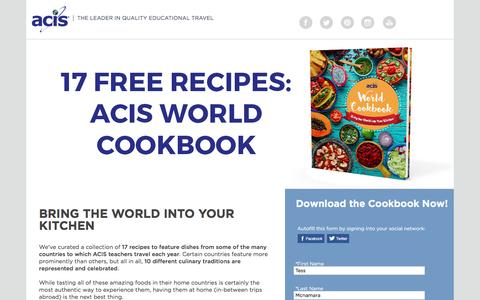 Screenshot of Landing Page acis.com - ACIS World Cookbook - captured March 30, 2017