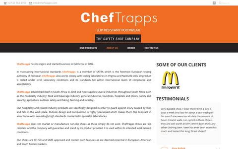 Screenshot of About Page cheftrapps.com - ChefTrapps – Slip Resistant Footwear   –  ABOUT US - captured Oct. 28, 2014