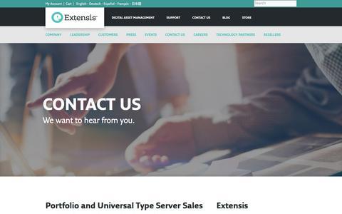 Screenshot of Contact Page extensis.com - Contact Us - Extensis.com - captured May 23, 2017