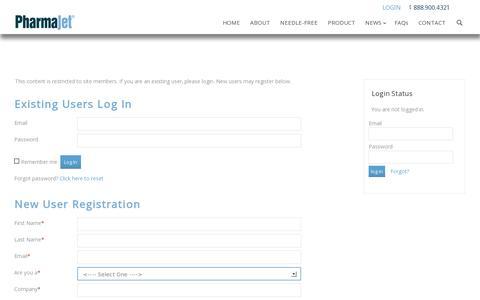 Screenshot of Login Page pharmajet.com - PharmaJet | Login - PharmaJet - captured July 19, 2014