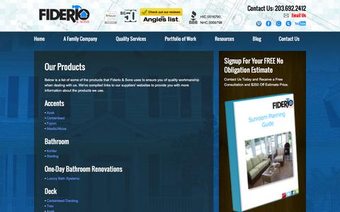 Screenshot of Products Page fiderio.com - CT Vinyl Siding | Entry Door Replacement | Fiderio & Sons - captured Feb. 10, 2016