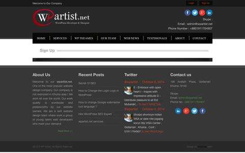 Screenshot of Signup Page wpartist.net - Sign Up • WordPress Developer And SEO Expert Wp Artist - captured Oct. 7, 2014