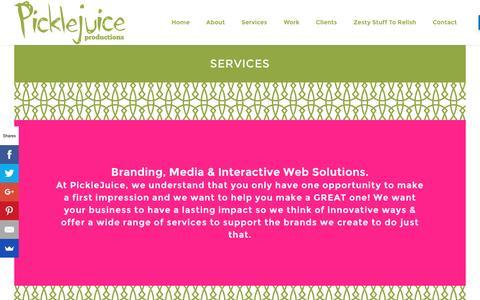 Screenshot of Services Page picklejuice.com - SERVICES | PickleJuice : Award Winning Web Design, Branding & Digital Marketing Agency in Beaufort, South Carolina. - captured Nov. 6, 2016