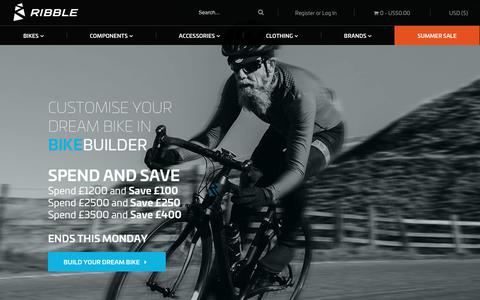 Screenshot of Home Page ribblecycles.co.uk - Buy Road Bikes & Parts at Ribble Cycles | Online Bike Shop - captured Sept. 23, 2018