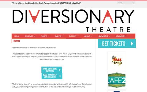 Screenshot of Support Page diversionary.org - Diversionary Theatre : The Third Oldest LGBT Theatre in the Country - captured Dec. 19, 2018