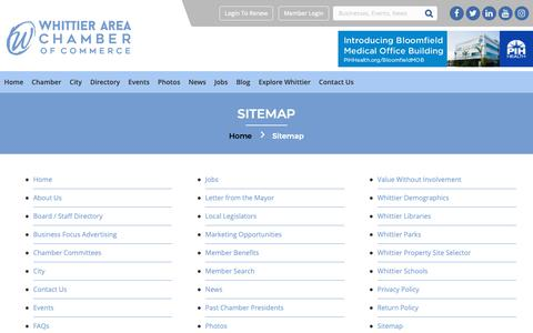 Screenshot of Site Map Page whittierchamber.com - Sitemap - Whittier Chamber - captured Nov. 8, 2018