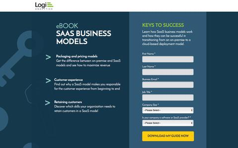 Screenshot of Landing Page logianalytics.com - SaaS Business Models for App Success Ebook | Logi Analytics - captured Feb. 16, 2016