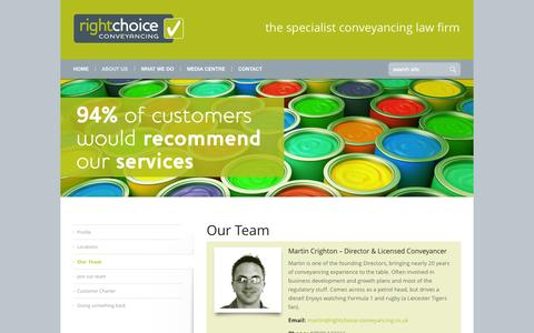 Screenshot of Team Page rightchoice-conveyancing.co.uk - Our Team - Right Choice Conveyancing - captured Sept. 30, 2014