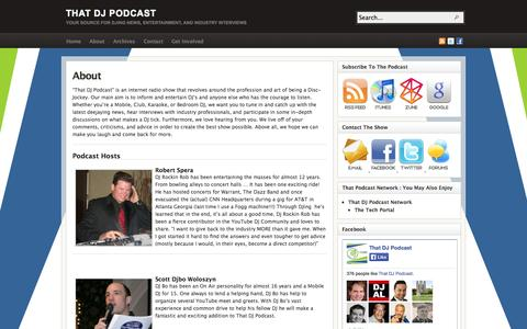 Screenshot of About Page thatdjpodcast.com - About - captured Oct. 7, 2014