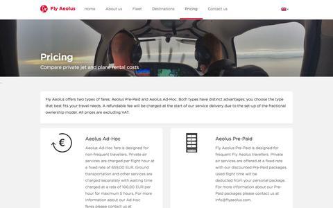 Screenshot of Pricing Page flyaeolus.com - Pricing - Fly Aeolus - captured June 6, 2017