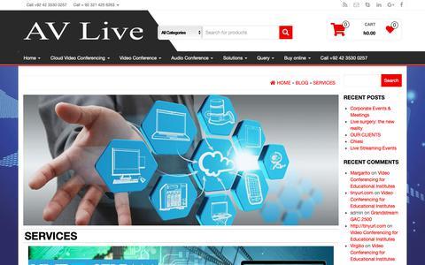 Screenshot of Services Page av-live.com.pk - Services - AV Live - captured May 9, 2019