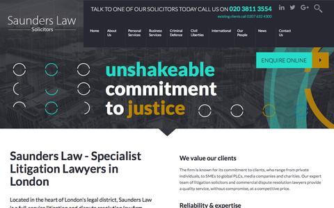 Screenshot of Home Page saunders.co.uk - Saunders Law - Litigation Lawyers in London - captured Nov. 19, 2016