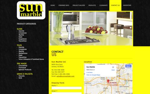Screenshot of Contact Page sunmarblekc.com - Contact us for All Types of Slabs, Tiles and Natural Stone Products - captured Oct. 6, 2014