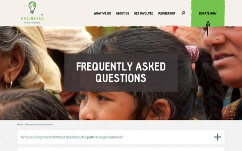 Screenshot of FAQ Page ewb-uk.org - Frequently Asked Questions | Engineers Without Borders UK - captured Sept. 28, 2018
