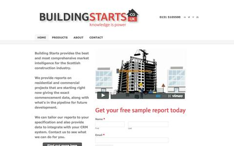 Screenshot of Home Page buildingstarts.co.uk - Building Starts - Construction Leads Scotland | Building Starts provides the best sales leads for the construction industry in Scotland - captured Oct. 5, 2014