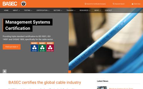 Screenshot of Home Page basec.org.uk - BASEC certifies the global cable industry | BASEC - captured July 24, 2018