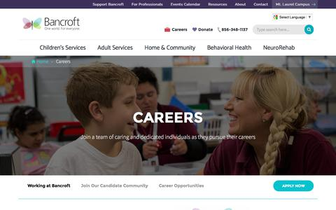 Screenshot of Jobs Page bancroft.org - New Jersey Careers in Developmental, Autism & NeuroRehab | Bancroft - captured May 31, 2017
