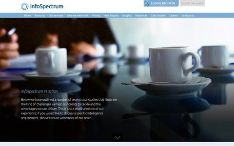 Screenshot of Case Studies Page infospectrum.net - Case Studies – Infospectrum - captured Oct. 12, 2018