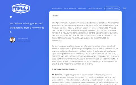 Screenshot of Terms Page forge3.com - Terms - Forge3 - captured May 21, 2019