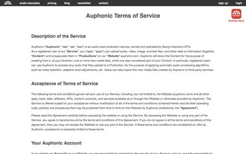Screenshot of Terms Page auphonic.com - Auphonic Terms of Service - captured Nov. 13, 2015