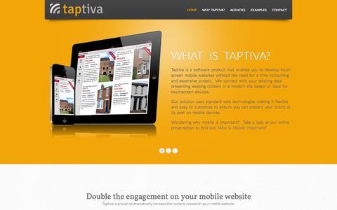 Screenshot of Home Page taptiva.com - Taptiva - captured Oct. 1, 2014