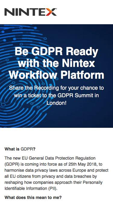 I'm getting GDPR ready with @Nintex. And so can you! Watch the webinar today #GDPRNintex