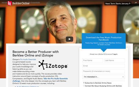 Screenshot of Landing Page berklee.edu - Learn Music Production with Berklee Online & iZotope - captured Nov. 11, 2016