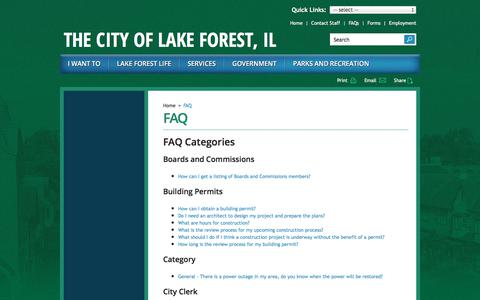 Screenshot of FAQ Page cityoflakeforest.com - FAQ | City of Lake Forest - captured Sept. 23, 2018