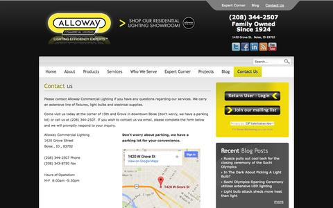 Screenshot of Contact Page allowaycommerciallighting.com - Contact us | Alloway Commercial Lighting - captured Sept. 30, 2014
