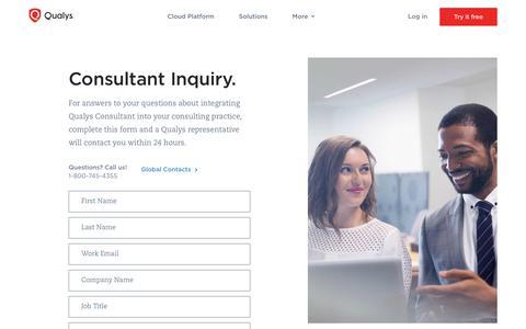 Consultant Inquiry | Qualys, Inc.