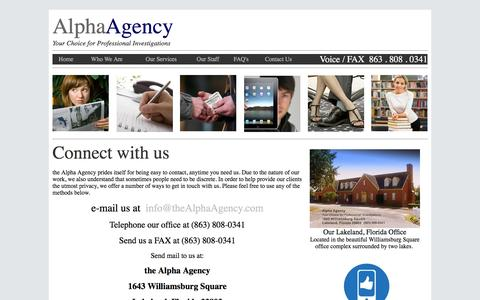 Screenshot of Contact Page thealphaagency.com - Alpha Agency - Contact Page - captured Feb. 5, 2016