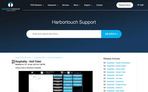 Screenshot of Support Page harbortouch.com - Hospitality - Void Ticket : Harbortouch Support Center - captured Oct. 9, 2018