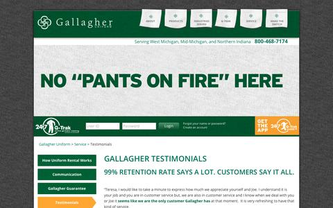 Screenshot of Testimonials Page gallagheruniform.com - 97% Customer Retention Says It All | Gallagher Testimonials - captured July 15, 2018