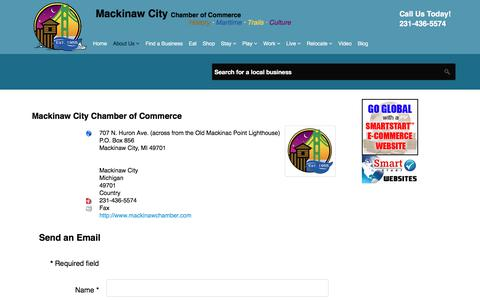 Screenshot of Contact Page mackinawchamber.com - Mackinaw City Chamber of Commerce - contact-us - captured Sept. 27, 2017