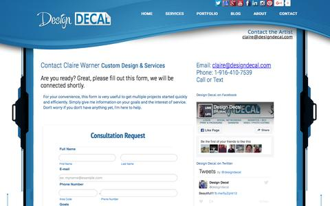 Screenshot of Contact Page designdecal.com - Claire Warner Designer - Contact - captured Nov. 24, 2016