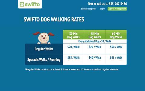 Screenshot of Pricing Page swifto.com - Swifto Dog Walking Rates | Swifto | NYC Dog Walking with GPS Tracking - captured Sept. 17, 2014