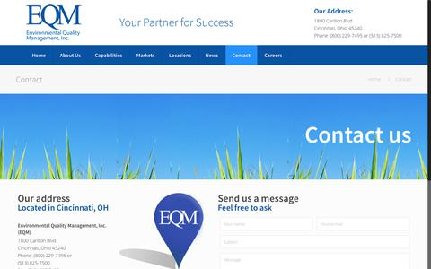 Screenshot of Contact Page eqm.com - Contact Us | Environmental Quality Management - captured Aug. 14, 2017