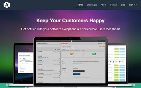 Screenshot of Home Page airbrake.io - Error monitoring, Error Handling, Error tracking and exception catching for Ruby on Rails, Python and PHP: Airbrake - captured Sept. 19, 2014