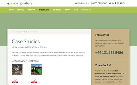 Screenshot of Case Studies Page soilutions.co.uk - Case Studies - captured May 24, 2018