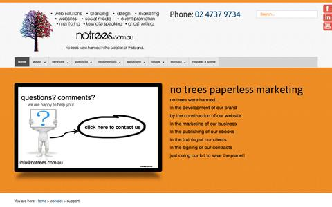 Screenshot of Support Page notrees.com.au - Support - No Trees - captured Nov. 30, 2016