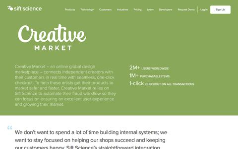 Screenshot of Case Studies Page siftscience.com - Creative Market | Sift Science - captured April 9, 2018
