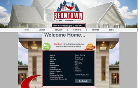 Screenshot of Home Page beantownhi.com - Beantown Home improvements - captured Oct. 5, 2014