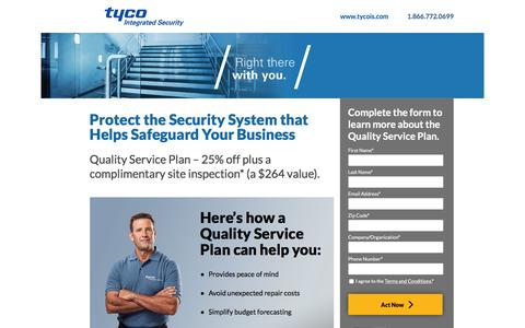 Screenshot of Landing Page tycois.com - Tyco Integrated Security | Cloud Video - captured May 5, 2016