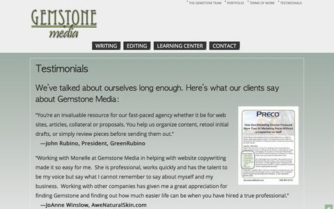 Screenshot of Testimonials Page gemstonemedia.net - Testimonials   - Gemstone Media - captured Oct. 28, 2014
