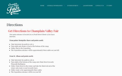 Screenshot of Maps & Directions Page champlainvalleyfair.org - Directions | Champlain Valley Fair - Vermont's Largest Fair|Get Directions to Champlain Valley Fair in Essex Jct, Vermont - captured Oct. 25, 2018