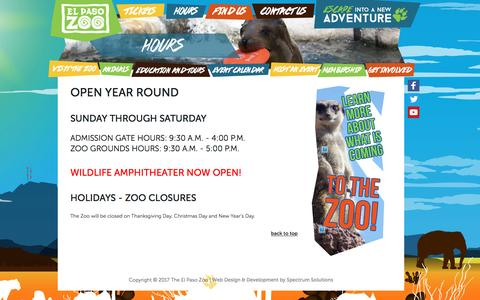 Screenshot of Hours Page elpasozoo.org - Hours - captured April 10, 2017