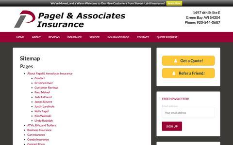 Screenshot of Site Map Page pagelasc.com - Pagel & Associates Insurance Agency - Sitemap - captured Dec. 13, 2018