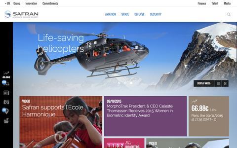 Screenshot of Home Page safran-group.com - Safran is a leading international high-technology group. - captured Sept. 11, 2015