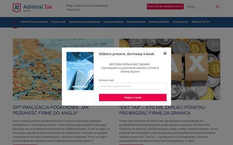 Screenshot of Blog admiraltax.pl - AdmiralTax - blog o optymalizacji podatkowej i finansach - captured July 29, 2018