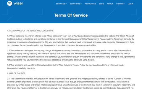Screenshot of Support Page Terms Page wiser.com - Terms of Service | Wiser - captured July 30, 2019
